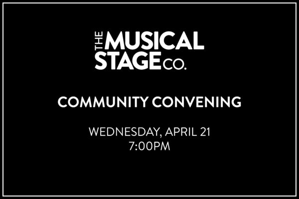 """White text on a black background reads, """"COMMUNITY CONVENING / Wednesday, April 21 / 7:00 PM."""""""