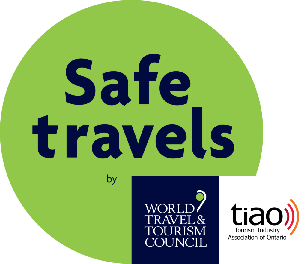 """Graphic of """"Safe travels"""" Stamp by World Travel & Tourism Councilbadge from"""