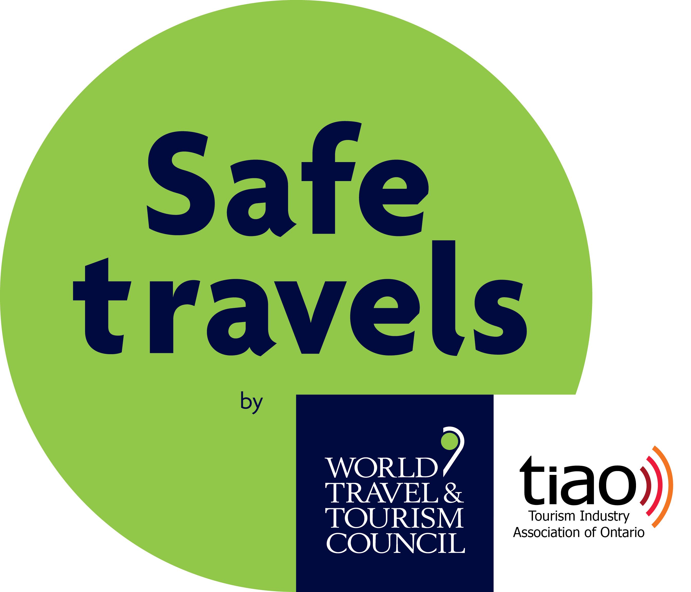 "Graphic of ""Safe travels"" Stamp by World Travel & Tourism Councilbadge from"