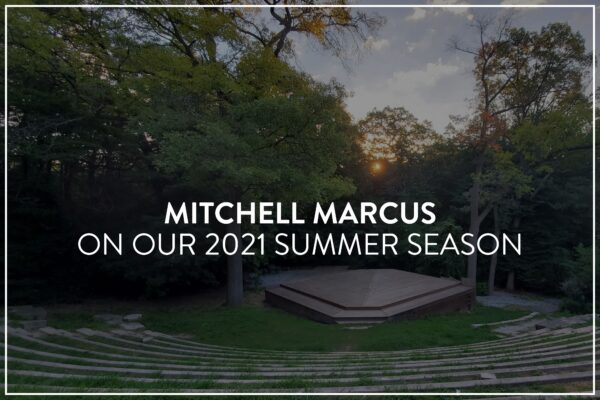 "An image of long winding stone step/seats curved in a forest clearing, centering a large wooden square stage, surrounded by trees. There's small fluffy clouds and a sunset. White text overlaid reads, ""MITCHELL MARCUS on our 2021 Summer Season"""