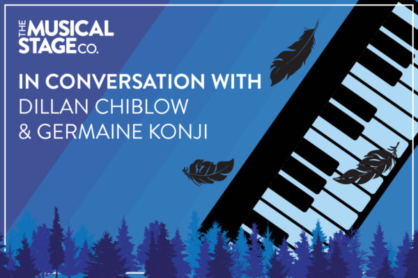 """Graphic of a keyboard silhouette and a few falling feathers around it, with a blue background. Text to the left reads, """"In conversation with / Dillan Chiblow & Germaine Konji."""" Rows of varying blue trees run along the bottom of the design."""