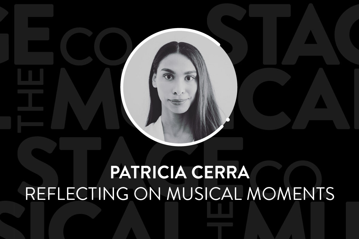 """A black background has faded Musical Stage Company logos overlaid. Centered is a circular image of a headshot, with a white 'C' and '.' border. The headshot is Patricia Cerra, a person of colour who is smiling at the camera in a black and white photo. She is wearing a white shirt with her long dark hair parted down the middle and falling over her left shoulder. Text underneath reads, """"Patricia Cerra / Reflecting on MUSICAL MOMENTS."""""""