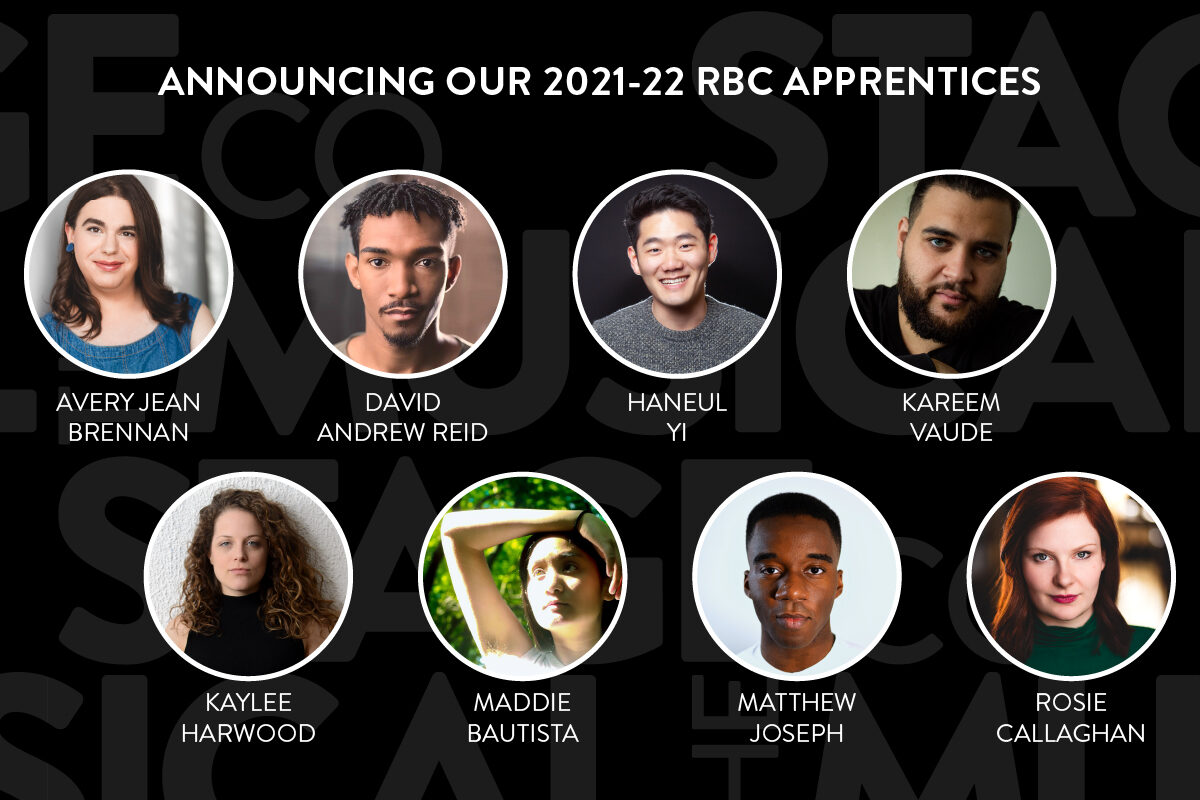 """A black background with faded Musical Stage Company logos overlaid. White, top-centered text reads, """"ANNOUNCING OUR 2021-22 RBC APPRENTICES"""" Centered are 8 circular headshots with white borders, all spaced and aligned evenly in 2 rows of 4, with their matching name underneath in text. Left to right (row 1); Avery Jean Brennan, David Andrew Reid, Haneul Yi, Kareem Vaude. Left to right (row 2); Kaylee Hardwood, Maddie Bautista, Matthew Joseph, Rosie Callaghan."""